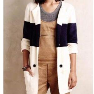 La Fee Verte Large Ivory Navy Sweater Cardigan